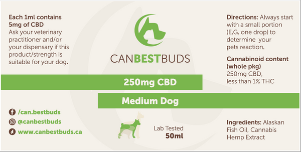 Medium Dog CBD Oil 50ml Bottle with 250mg CBD