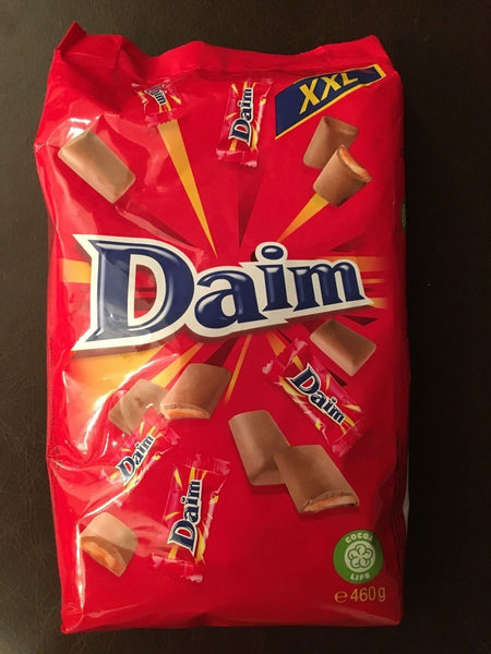 Daim bite size pieces of crunchy almond caramel coated with milk chocolate. (460g)