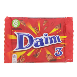 Daim 3 pack crunchy almond caramel coated with milk chocolate.