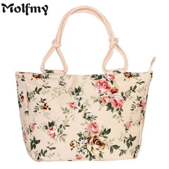 Casual Flower Printing Canvas Shoulder Bag