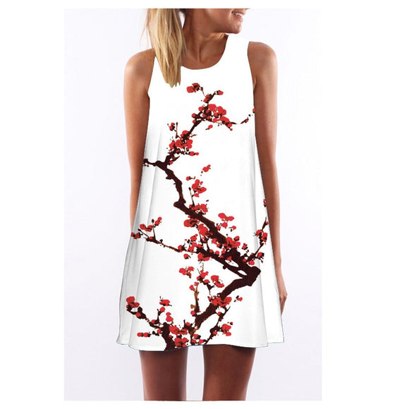 Floral Print Sleeveless Style Casual Sun dress