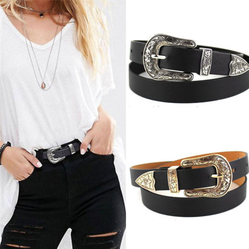 Black Leather Western Cowgirl Waist Belt