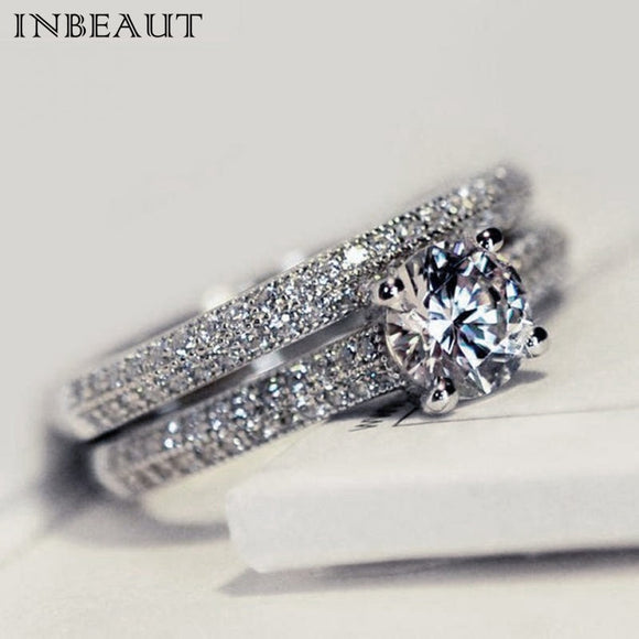 Sparkling Perfect Round Cut Zircon Stone Rings