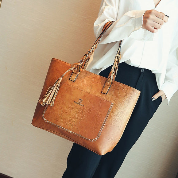 Large Capacity Tassel Leather Handbag