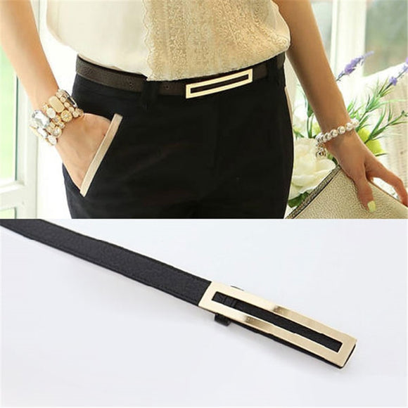 Luxury Metal Buckle Thin belt