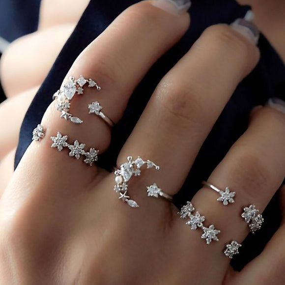 5pcs Tiny Crystal Moon Finger Knuckles Ring Set