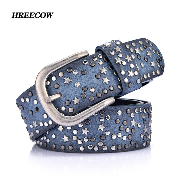 Split Leather+PU Rivet Inlay stars Belt