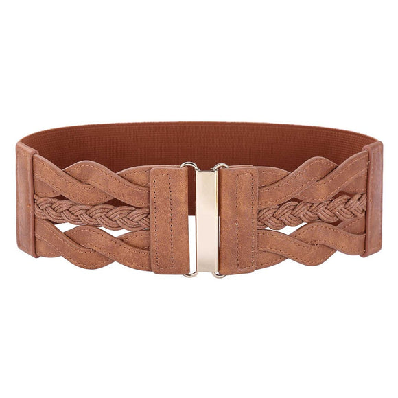 Braided Polyurethane Leather Elastic Waist Belt