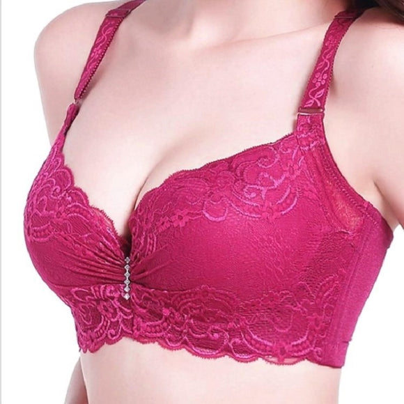 Lace thin cup push up bra