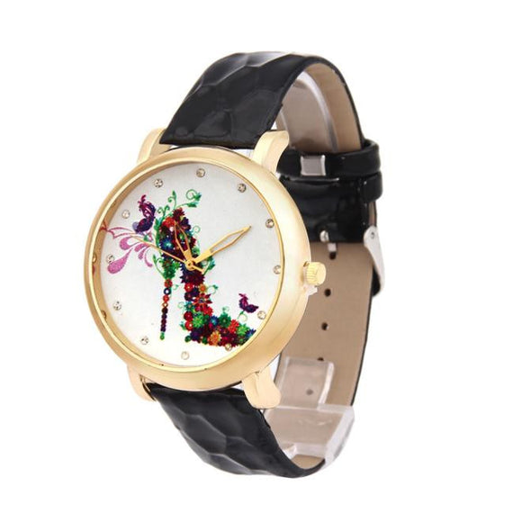 High-Heeled Shoes Pattern Leather Band Analog Quartz Vogue Watch