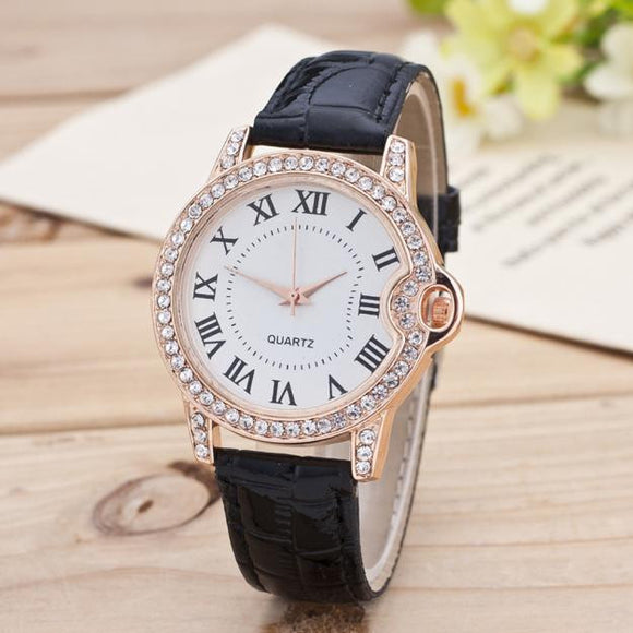 Leisure Time Faux Leather Analog Diamond Wrist Watch