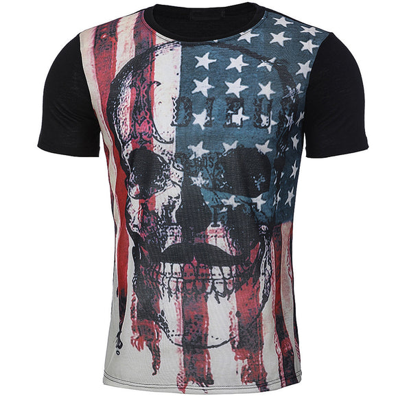 Flag Printed Summer Short Sleeve T-Shirts
