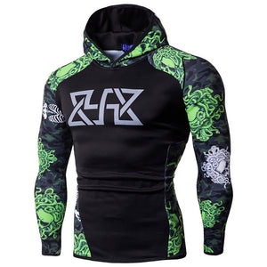 Long Sleeves Bodybuilding Skin Top Hoodie