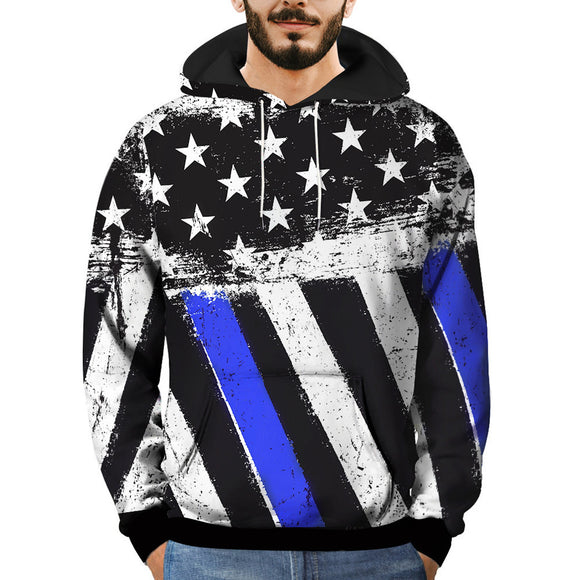 3D Printed Striped Pullover Hooded Sweatshirt