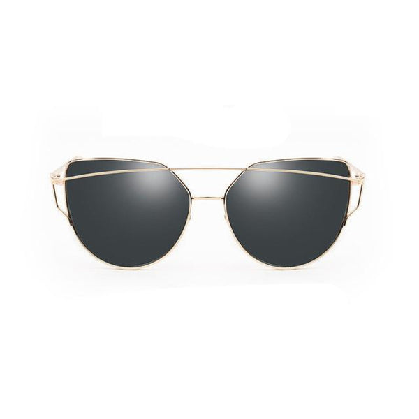 Lux Cat Eye Twin-Beam Sunglasses Gold & Gray