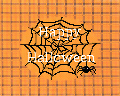 """Spider Says Happy Halloween"" on Pumpkin Plaid printed cross stitch fabric with chart and needleminder"