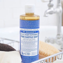 Dr. Bronner's Pure Castile Liquid Soap. 18-in-1, all-purpose, all-natural cleanser for your body, your home and your pets