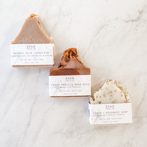 SOAK Bath Co. collection of creamy, all-natural bar soaps for face and body. handmade in Canada and packaged with plantable seed paper.