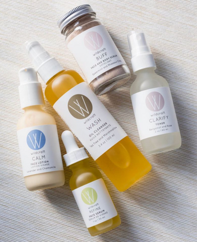 Collection of Wildcraft Skincare products.  All natural, cruelty free and Canadian made, small batch skincare products including cleanser, toner, masks, serums, scrubs and more