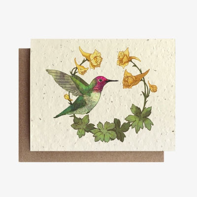 Hummingbird and Larkspur Plantable Seed Card