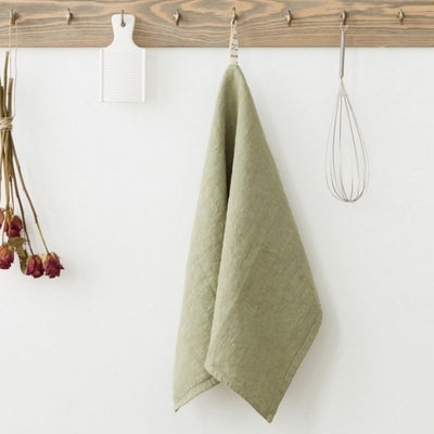 Washed Linen Tea Towel - Sage