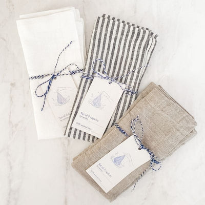 Set of 2 Washed Linen Napkins - Multiple Options