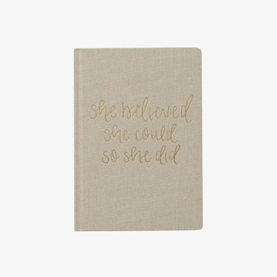 She Believed She Could - Tan & Gold Fabric Journal
