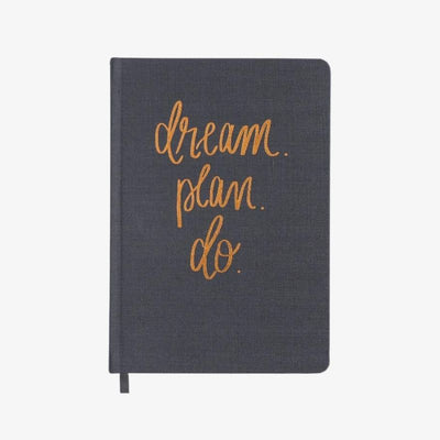 Dream Plan Do - Grey and Rose Gold Fabric Journal