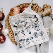 Medium Organic Cotton Reusable Produce Bag - Mushrooms