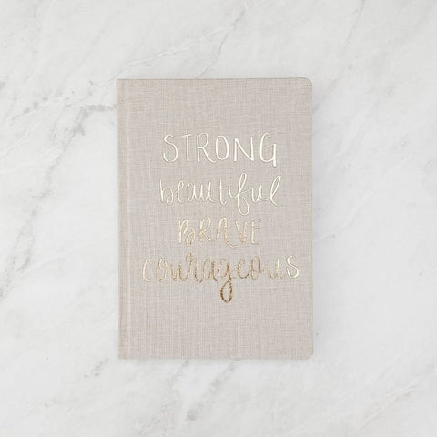 Strong Beautiful Brave Courageous - Tan & Gold Fabric Journal