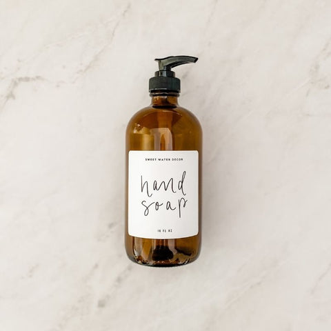 16oz Amber Glass Hand Soap Dispenser - White Label