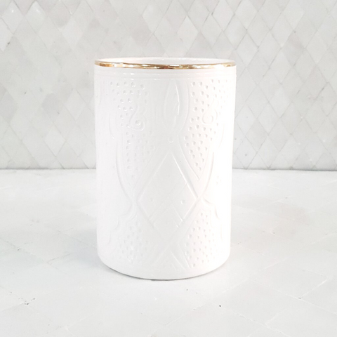 Ceramic Crock - White with Gold Trim