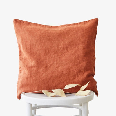 Washed Linen Cushion Cover - Baked Clay