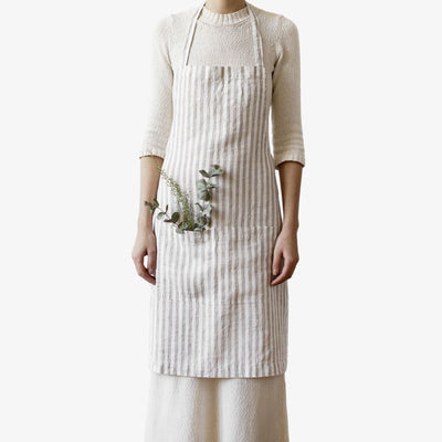 Washed Linen Classic Daily Apron - Natural Stripe