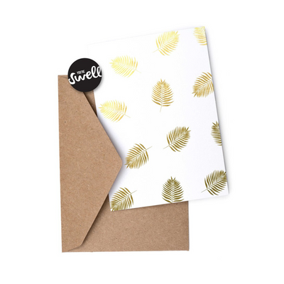 Greeting Card - Gold Palm Leaf Print