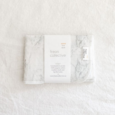 Freon Collective 100% Organic Cotton Face Cloth - Grey Marble