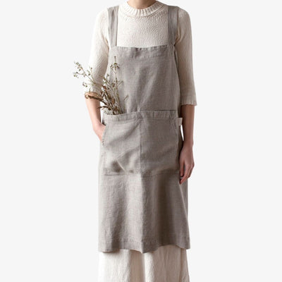 Natural Washed Linen Pinafore Apron