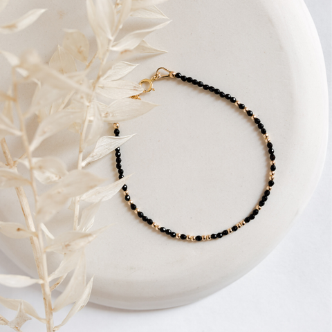 "Morse Code Beaded Bracelet - Moonstone ""Strength"""