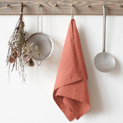 Washed Linen Tea Towel - Apricot