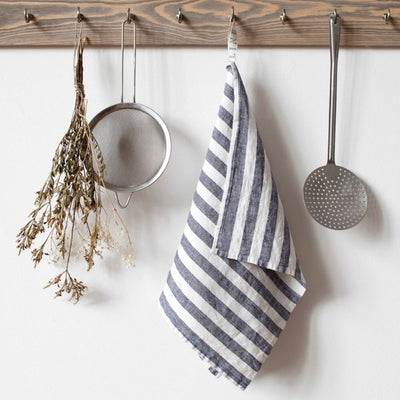 Washed Linen Tea Towel - Black Stripe