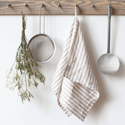 Washed Linen Tea Towel - Natural Stripe