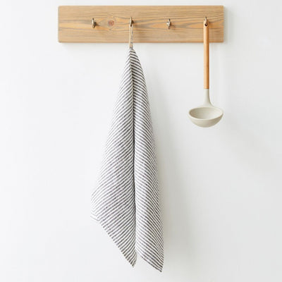 Washed Linen Tea Towel - Thin Black Stripe