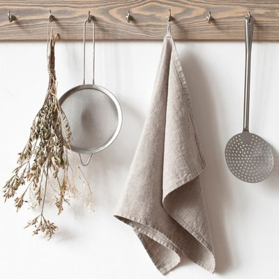 Washed Linen Tea Towel - Natural