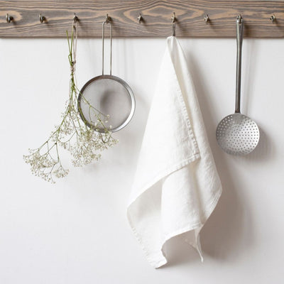 Washed Linen Tea Towel - White