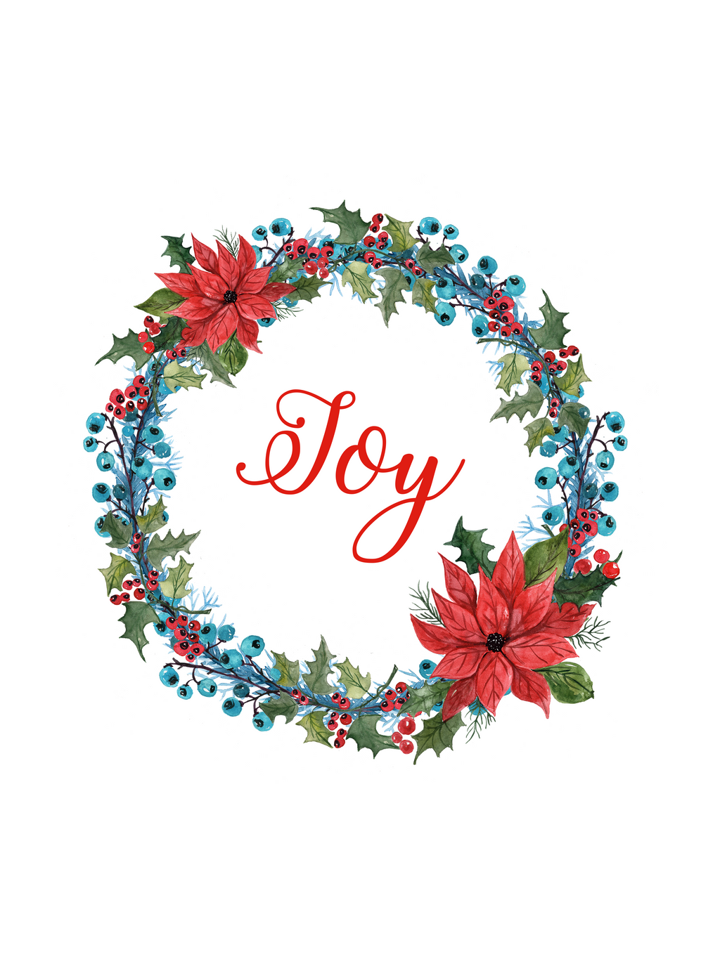 A3 / A2 Printed Poster Christmas Joy Watercolour Holly Wreath - Cutting Image