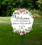 Welcome Event Sign - Bespoke Geometric Floral Sign - Cutting Image