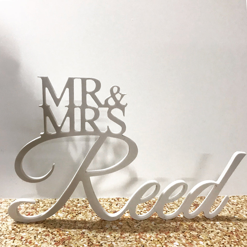 Personalised MR & MRS Wedding Sign - Cutting Image