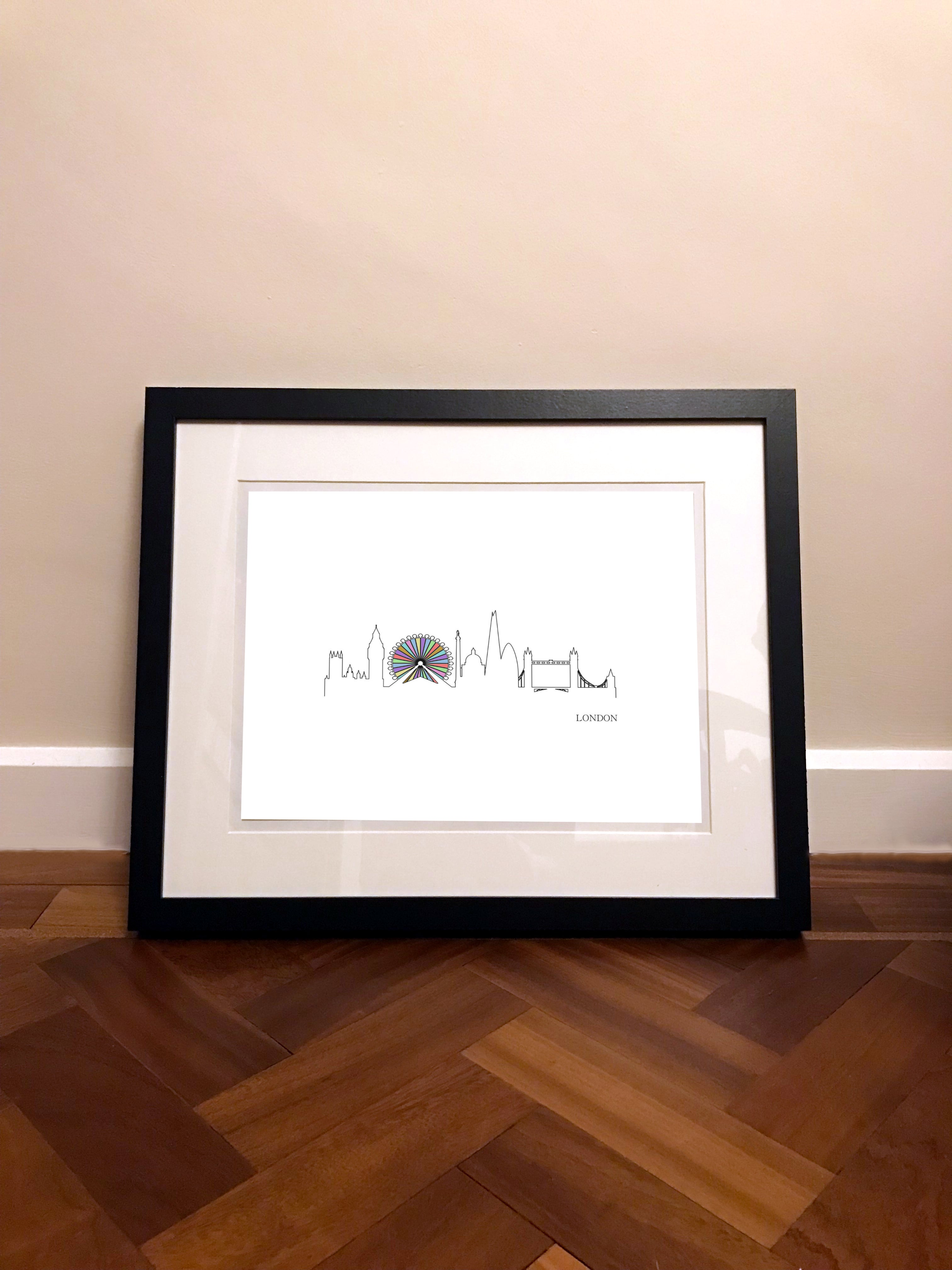 A3 / A2 Printed Poster London Skyline - Cutting Image