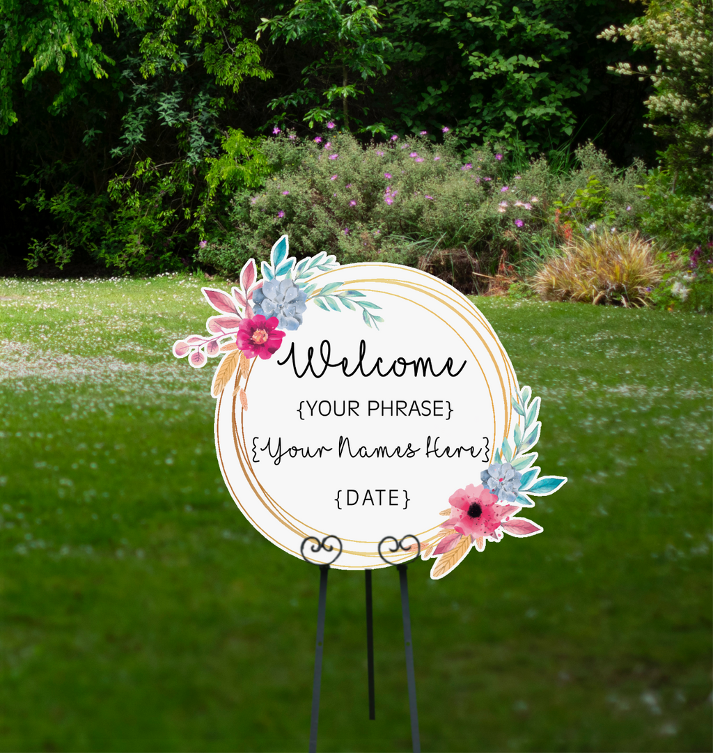 Welcome Event Sign -  Bespoke Circular Flower Sign - Cutting Image