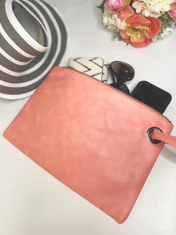 Coral Leather Summer Wrist Clutch